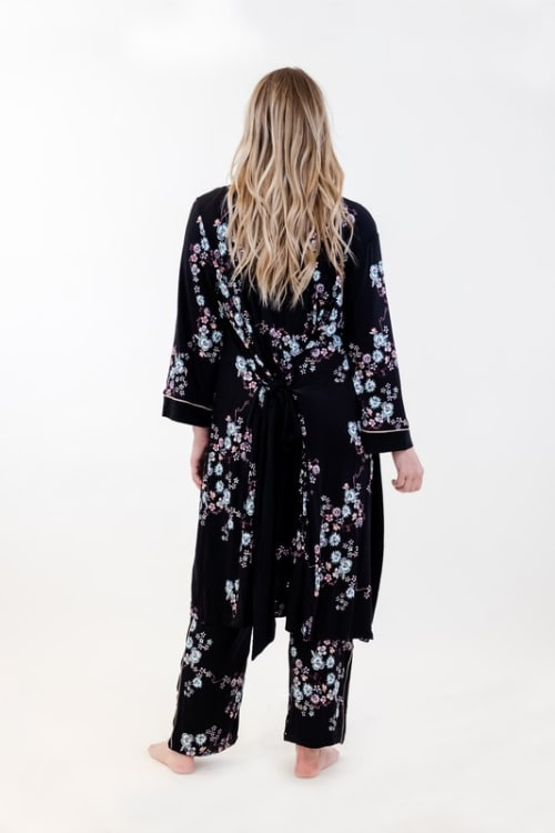 Floral Long Wrap Robe - Back