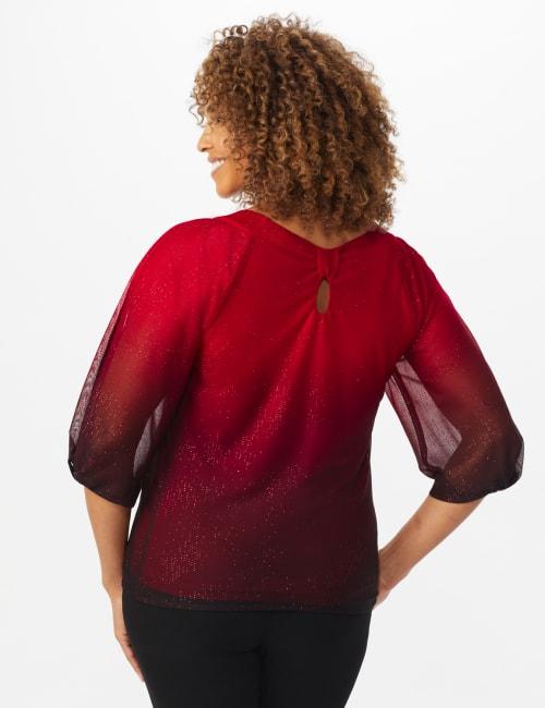 Roz & Ali Red Ombre Glitter Bubble Hem Blouse - Petite - Back