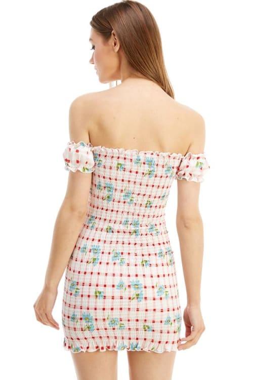 Smocked Off the Shoulder Fitted Dress - Back