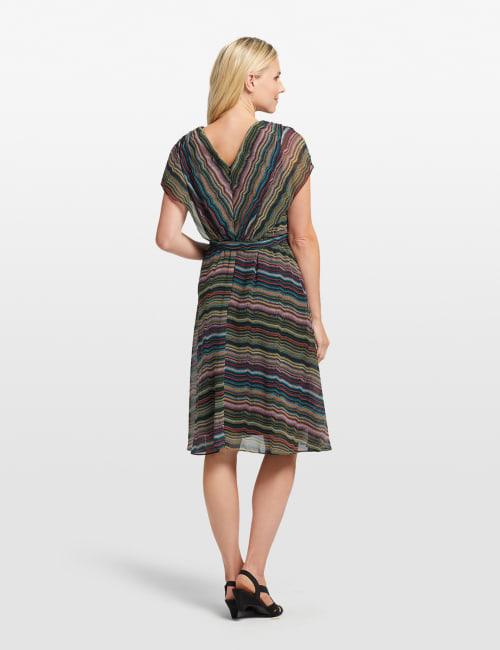 Wavy Stripe Faux Wrap Dress - Back