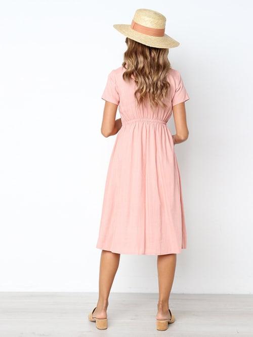 Buttoned V-Neck Dress With Pockets - Back