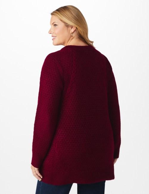 Westport Lurex Sharkbite Pullover Sweater - Plus - Back