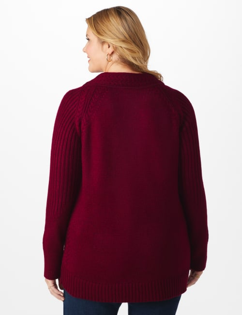 Westport Cable Detail Curved Hem Sweater - Plus - Back