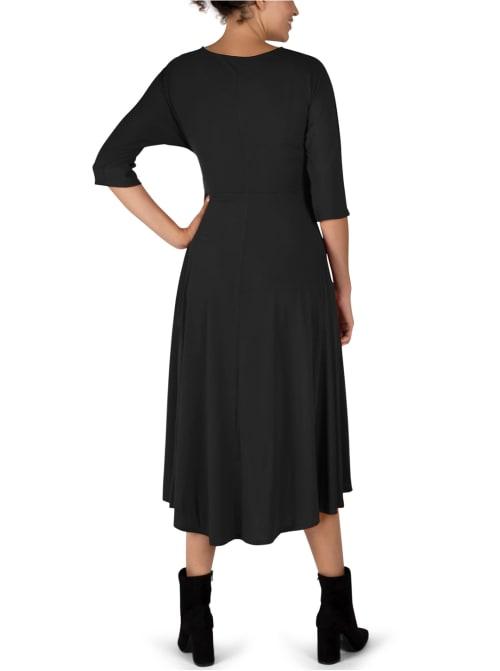 Tie Front Midi Dress Hi-Lo Hem - Back