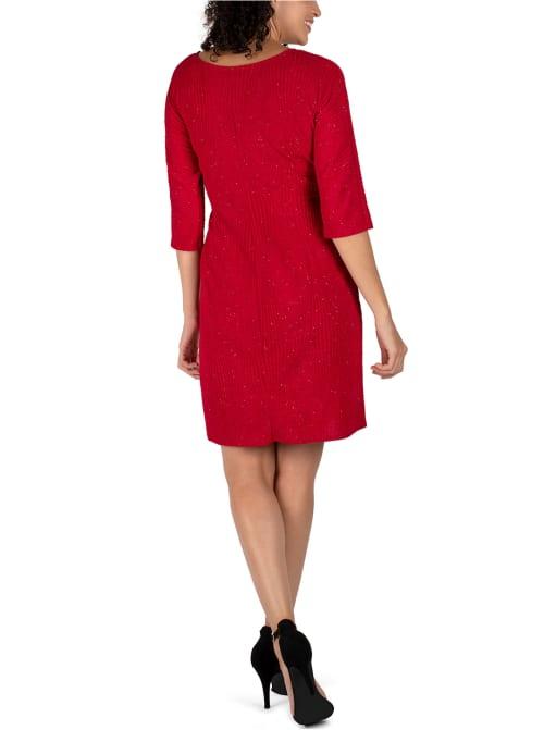 Faux Wrap Knit Dress - Back
