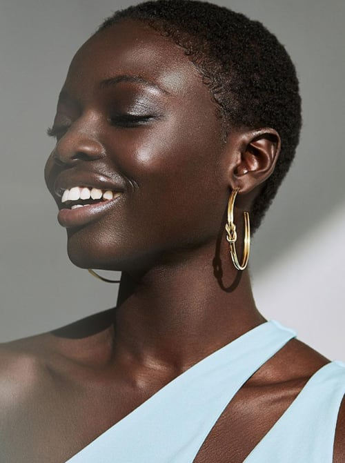 Handcrafted 24K Gold Plated Sayo Maxi Hoop Earrings - Back