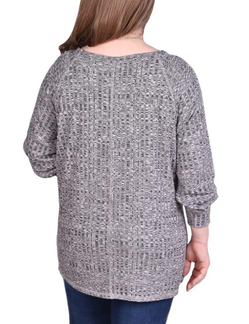 Long Sleeve Cuffed Rib Pullover - Plus - Back