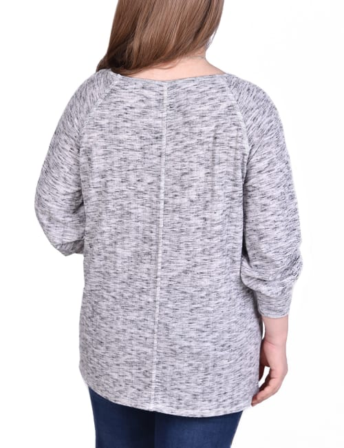 Long Sleeve Ribbed Pullover With Button Accents - Plus - Back