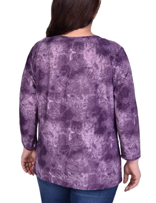 Long Sleeve Tunic With Neckline Cutouts - Plus - Back