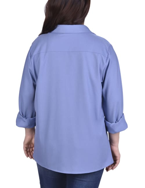 Button Front Blouse With Wide Cuff - Plus - Back