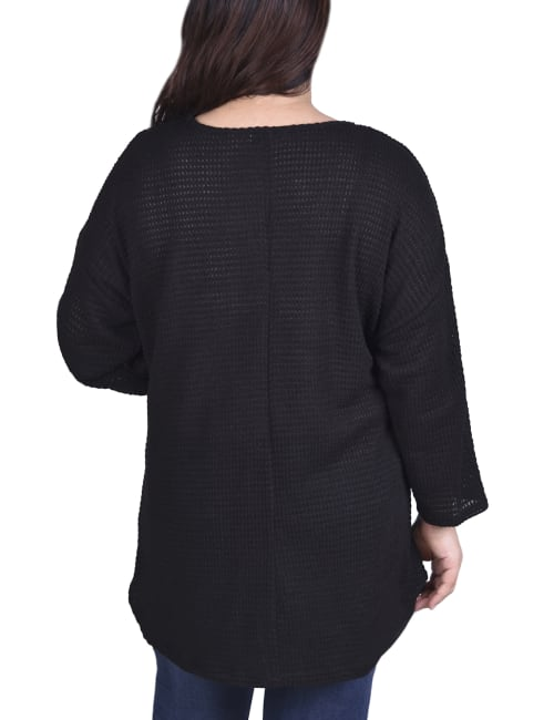 Twist Front 3/4 Sleeve Pullover - Plus - Back