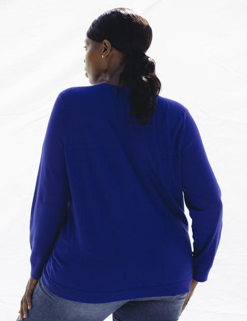 Roz & Ali Rhinestone Pullover Sweater - Plus - Back