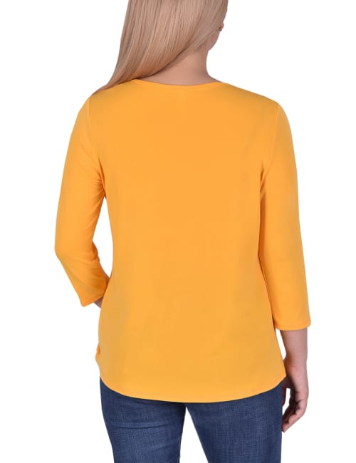 3/4 Sleeve Top With Cutout Ringed Neckline - Back