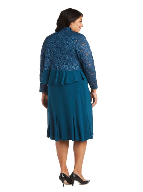 Knee-Length Dress with Ruched Bust and Lace Detailing with Lace Jacket -Plus - Back