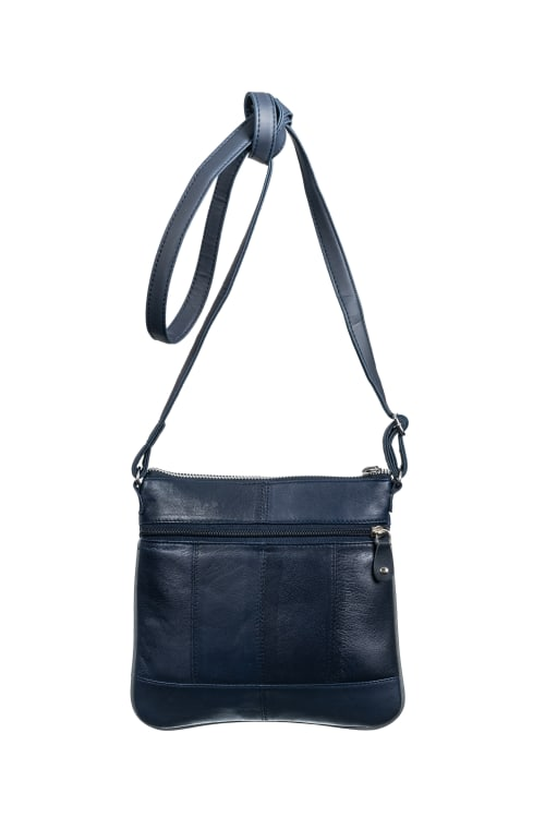 Champs Leather Double Zip Cross Body Bag - Back