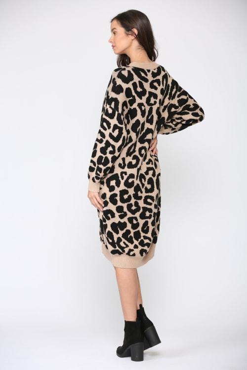 Stelle Long Sleeve Animal Print Sweater Dress - Back