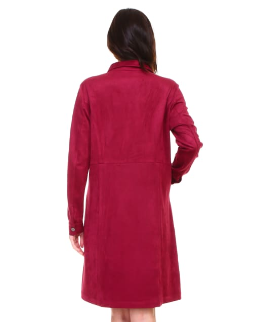 Anne Long Sleeve Front Snap Button Dress - Back