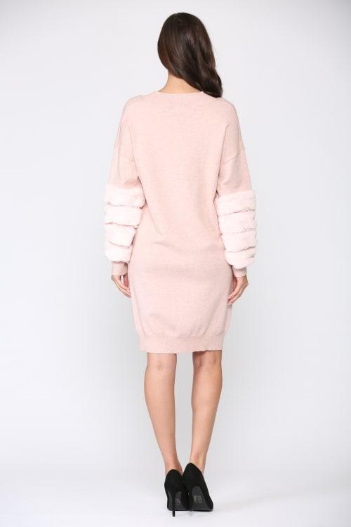 Sonia Round Neck Fur Dress - Back