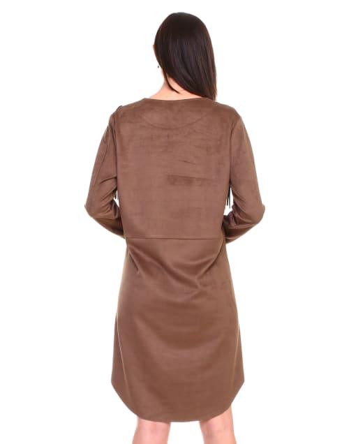 Angie Long Sleeve Fringe Dress - Back