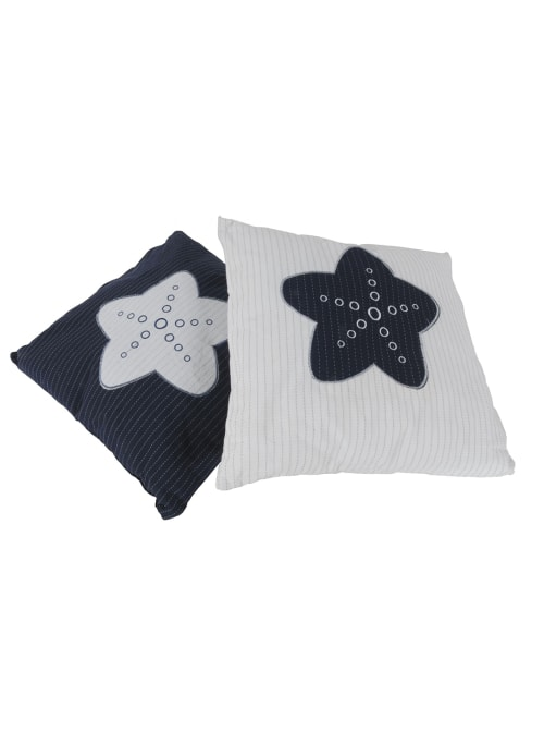 White Square Accent Pillow with Nautical Blue Star - Back