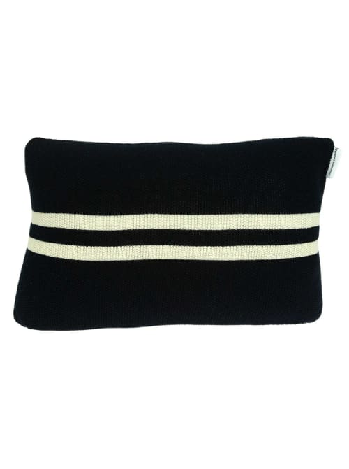 Nautical Navy Blue Stripe and Anchor Pillow Cover - Back