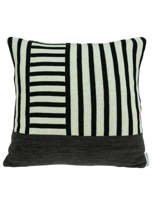 Modern White and Black Accent Pillow Cover - Back
