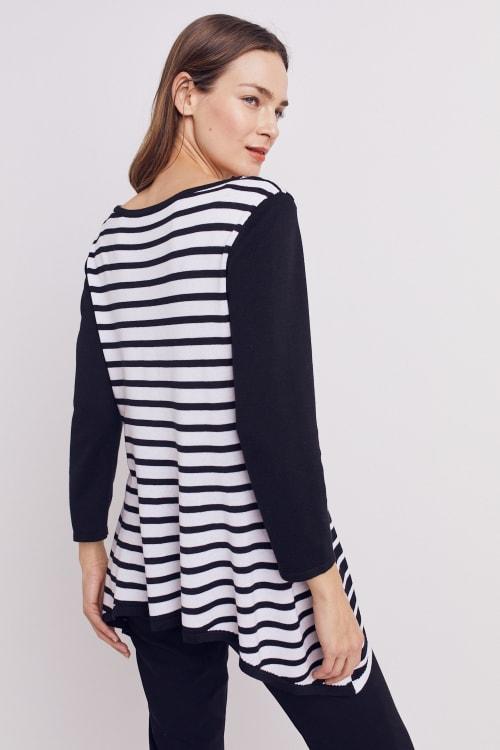Roz & Ali Contrast Stripe Sweater - Back