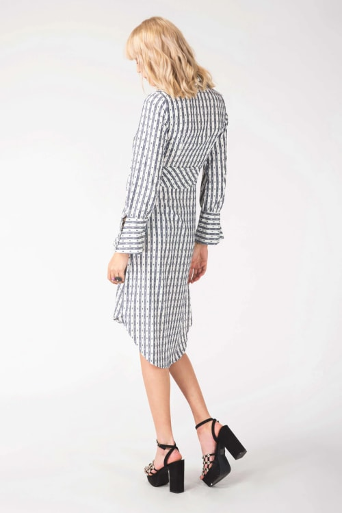Navy & White Long Sleeve Shirt Tie Dress - Back