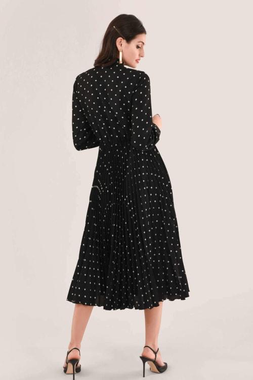 Black Pleated Shirt Dress - Back