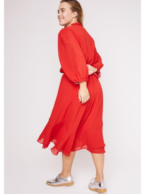 Karen Ruffle Hem  Hi Low Dress - Plus - Back