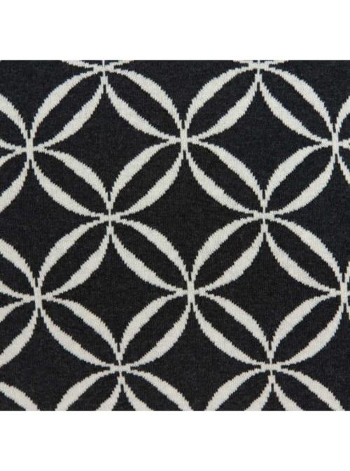 Geometric Design Black and White Cotton Pillow Cover - Back