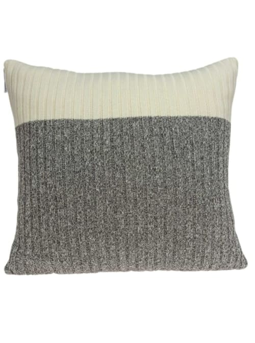 Casual Square Gray and Tan Accent Pillow Cover - Back