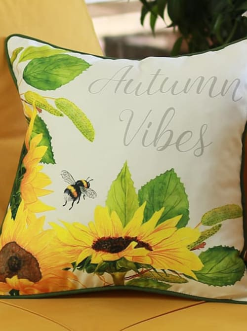 """Set of 4 18"""" Autumn Vibes Throw Pillow Cover in Multicolor - Back"""