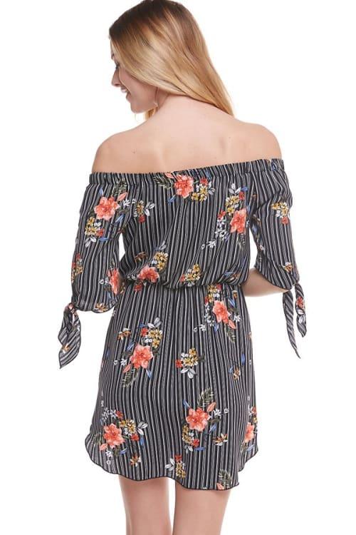 Floral Print Off Shoulder Tie Sleeve Dress - Back