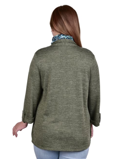 3/4 Sleeve Roll Tab Cardigan With Inset And Printed Scarf - Plus - Back