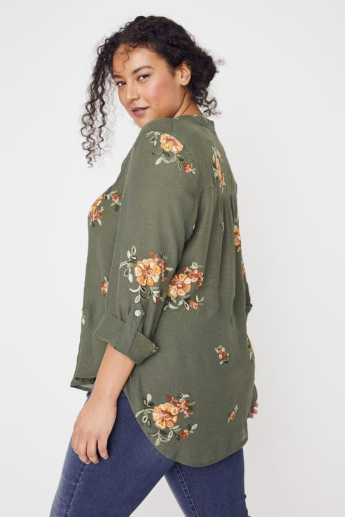 Olive Embroidered Button Front Woven Blouse- Plus - Back