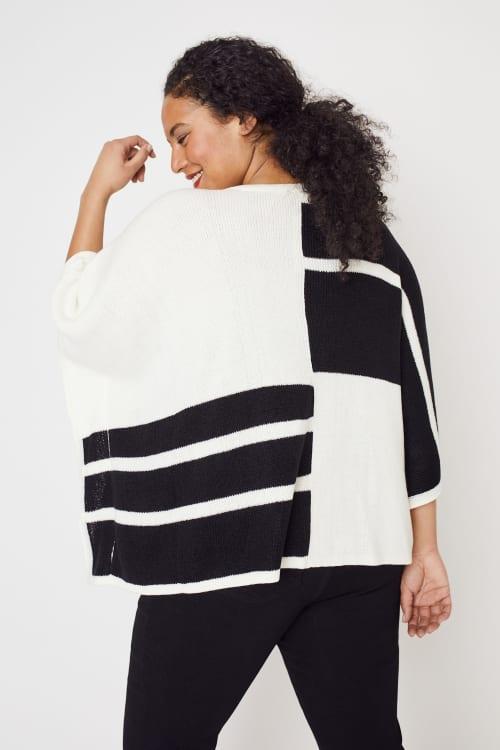 Roz & Ali Colorblock Open Front Sweater Poncho - Plus - Back