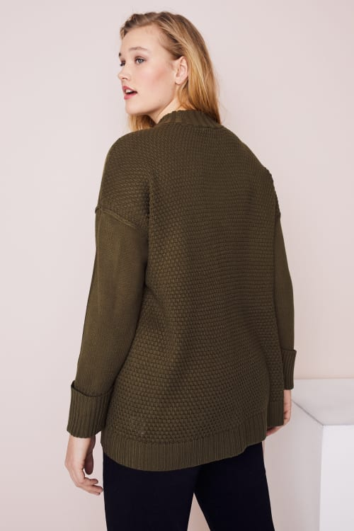 Westport Mixed Stitch Pullover Sweater - Plus - Back
