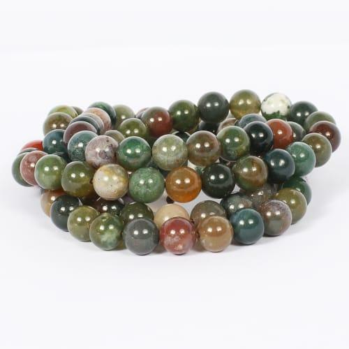 Jean Claude Jasper and Agate Stone Beads Stretchable Multi Wrap Bracelet - Back