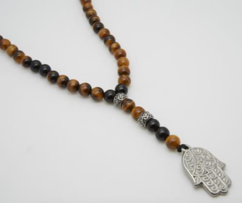 Jean Claude Tiger Eye Stone Spiritual Stainless Steel Necklace - Back