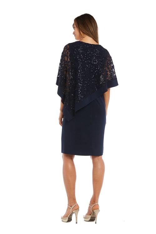 Short Asymmetric Metallic Lace Caplet Dress - Back