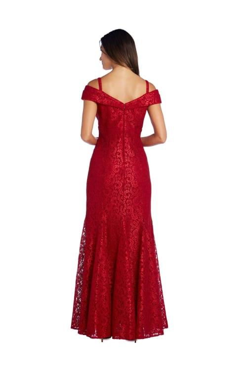 Off The Shoulder Glitter Lace Gown Godet Pleats At Hem - Back