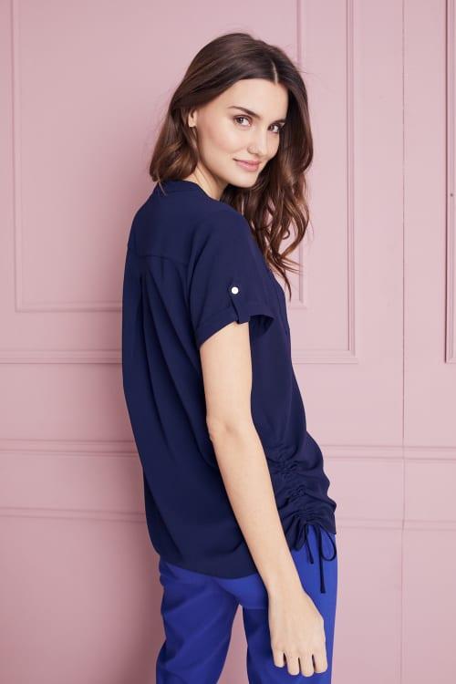 Roz & Ali  Short Sleeve Side Tie Popover Blouse - Back
