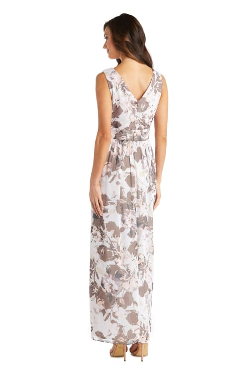 Rhinestone Detail Waist Floral Print Dress - Back