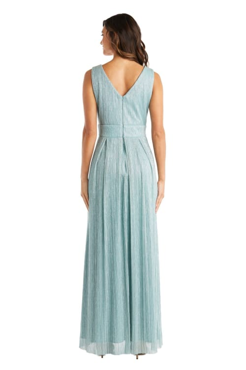 Long Crinkle Pleated Sleeveless Dress with Rhinestone Trim At Set In Waist - Back