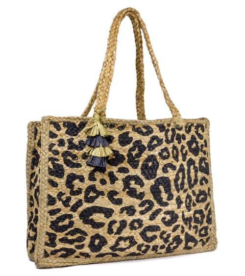 Leopard Straw Shopper with Tassel - Back