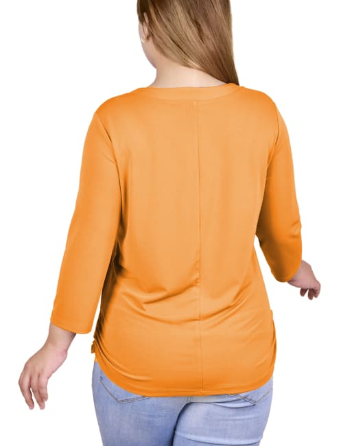 Plus Size Long Sleeve Crepe Knit V Neck Top With Zipper - Back