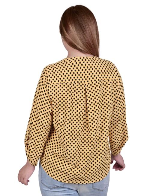 Plus Size 3/4 Roll Tab Sleeve Mandarin Collar Blouse - Plus - Back
