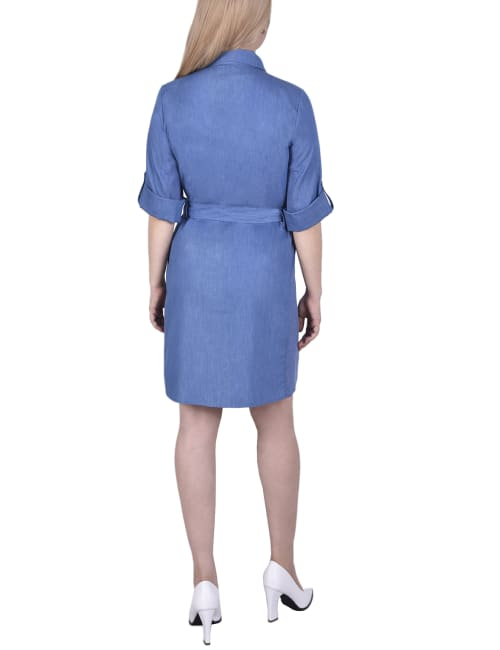 Petite 3/4 Roll Tab Sleeve Denim Dress With Knit Side Seam Insets - Back