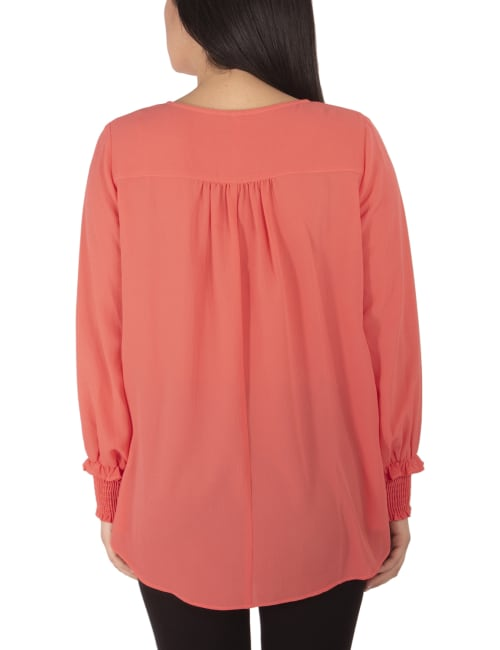 Long Sleeve Overlapping With Necklace Crepe Top - Petite - Back